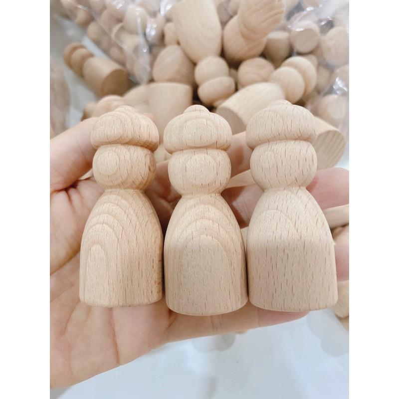 Búp bê gỗ – Nữ có nón cao 7cm