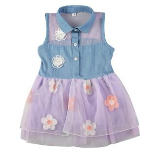 Đầm xòe không tay cổ sơ mi phối lưới in hoa đáng yêu cho bé gái