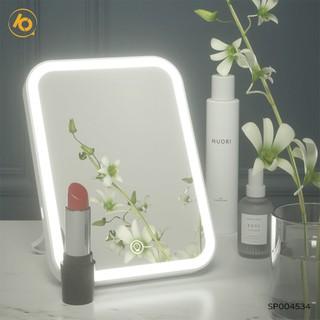 Gương đèn led để bàn trang điểm hình chữ nhật có 3 chế độ sáng