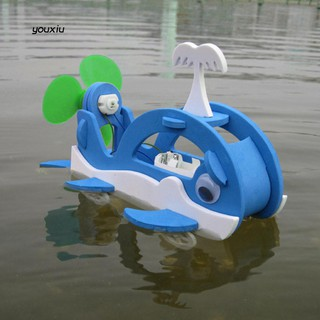 YX❤Assemble Water Land Wheels Whale Robot Toy Student Science Project Model Ship