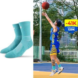 Tất thể thao R02 Redikick Xanh chống trượt thoáng khí có đệm chuyên dụng bóng rổ bóng đá chuyên nghiệp cao cổ nam n