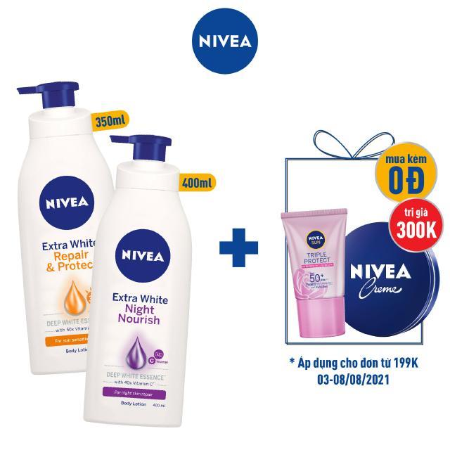 [Mã FMCGMALL giảm 8% Tối đa 80K đơn 250K] Bộ đôi Sữa dưỡng thể trắng da Ngày (350ml) & Đêm (400ml) NIVEA (88311+88126)