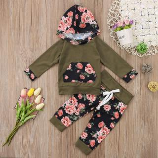 ♪TY★Newborn Baby Girls Fashion Floral Hooded Long Sleeve Sweatshirt Tops+Pants 2Pcs Outfits Set Hot Sale