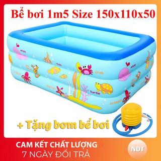 Bể bơi 1m5 3 tầng cho bé hình chữ nhật loại dày 150cmx110cmx50cm + Tặng keo và miếng vá