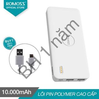 Pin sạc dự phòng 10.000mAh Polymos 10 Air ROMOSS (Trắng) tặng Cáp sạc micro USB Romoss dài 1m-123shop