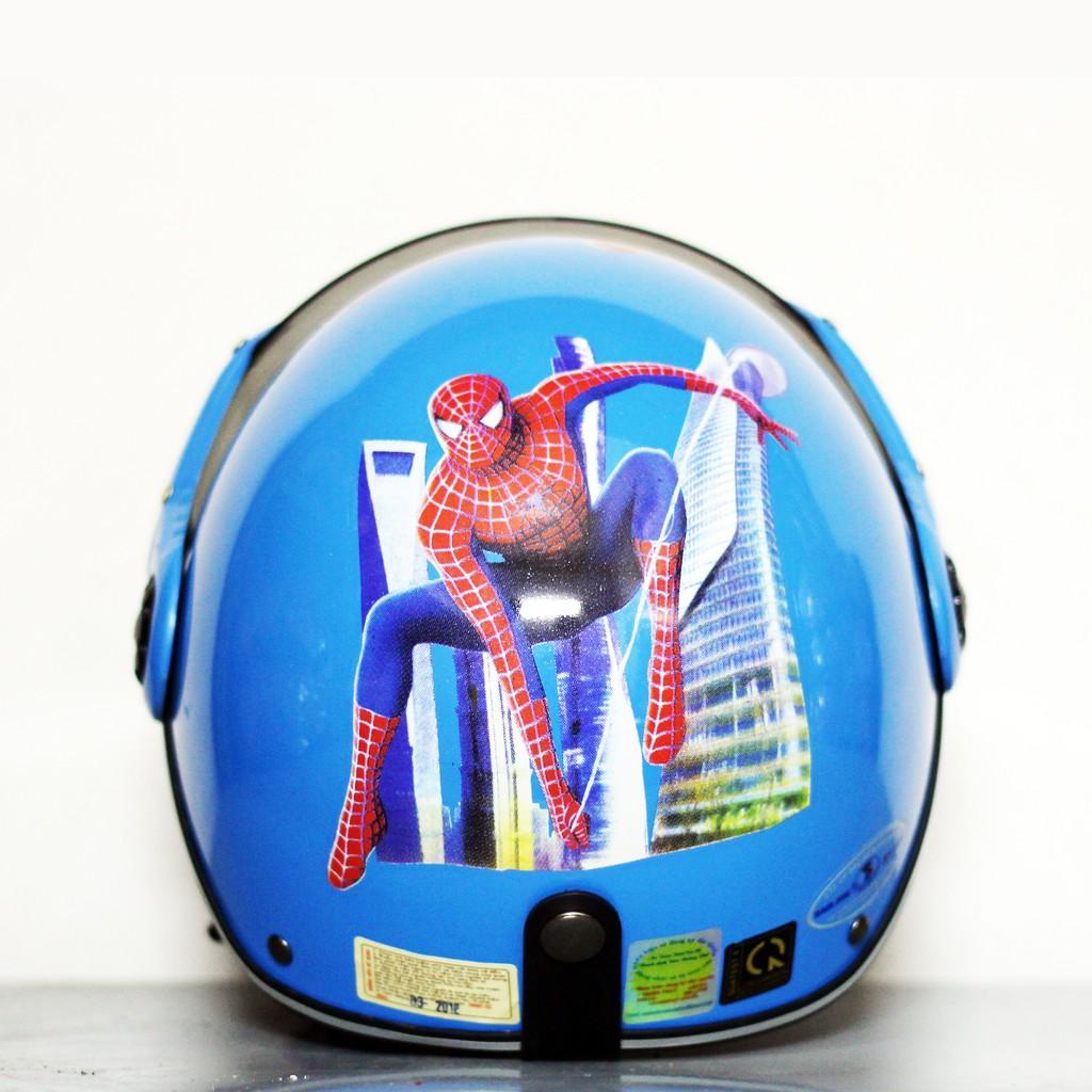 Mũ bảo hiểm cho bé Người Nhện Xanh Nhạt Hàng chính hãng bảo hành 2 năm
