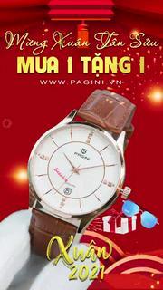 Đồng Hồ Nam PAGINI PA16688 Dây Da Cao Cấp Mặt Kính Chống Xước, Chống Nước Mạnh Mẽ - Bảo Hành 12 Tháng