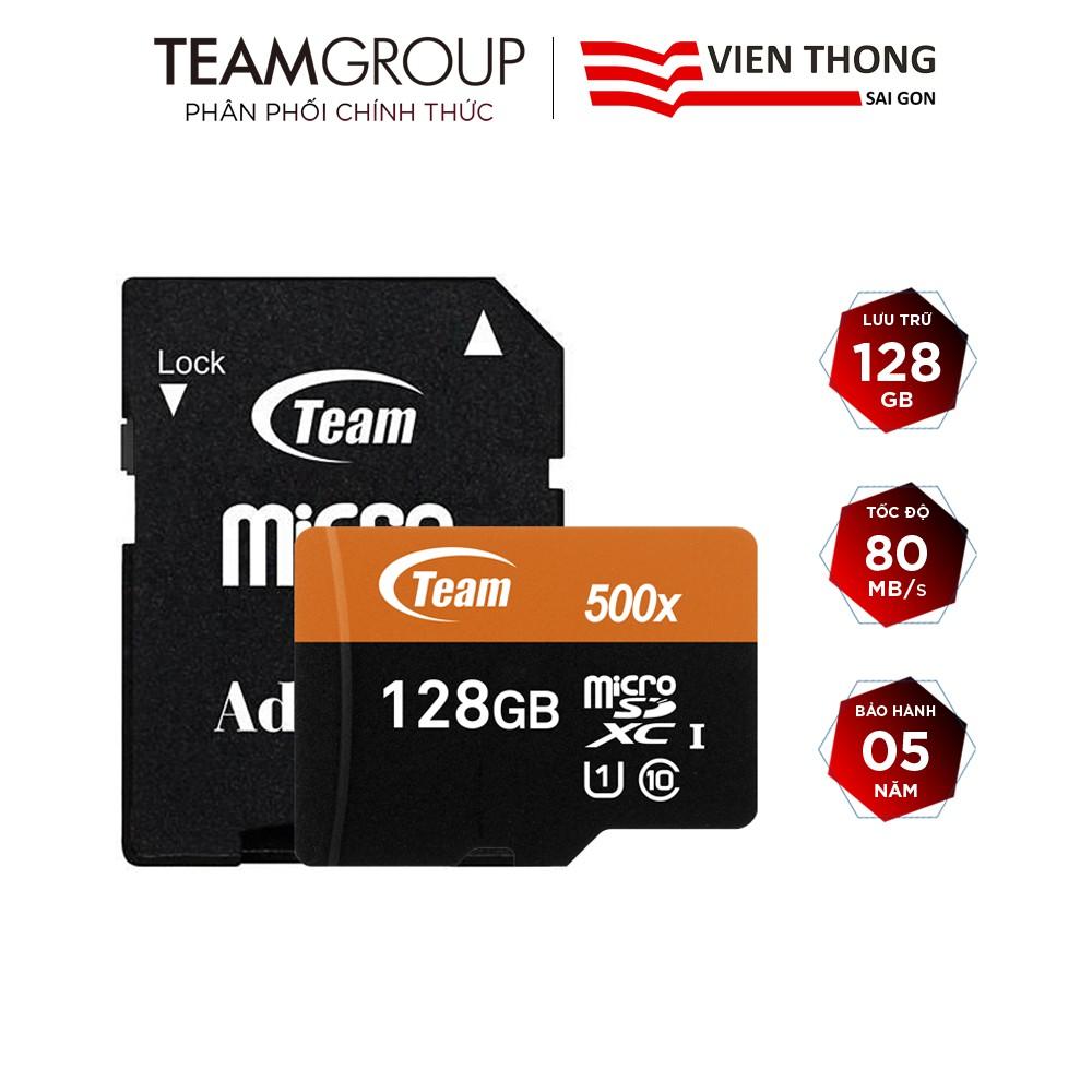 Thẻ nhớ microSDXC Team Group 128GB 500x upto 80MB/s class 10 U1 kèm Adapter (Cam) - Hãng phân phối chính thức