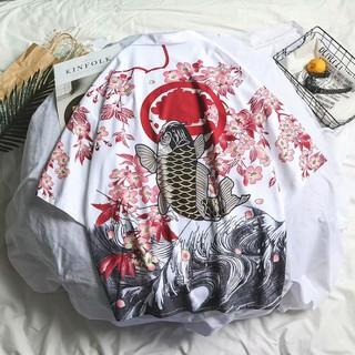 Áo khoác nam nữ Kimono họa tiết chim hạc cá KOI Ryu no Happi phong cách Nhật Bản Haori Happi anime