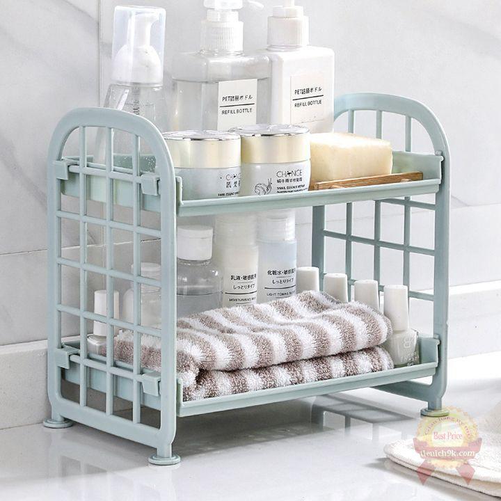 Giá kệ để đồ dùng phòng tắm đựng đồ bếp 2 tầng V2 rửa bát chén gọn nhẹ đa năng