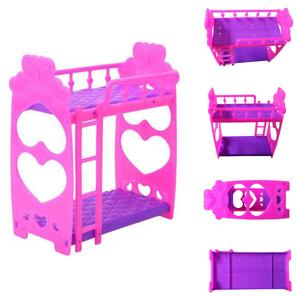 Dollhouse Girls Gift Frame Bedroom Plastic Furniture Accessories Decoration Doll Double Bed Kids Toy
