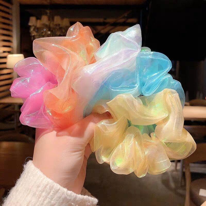 Dây Buộc Tóc 7 Kiểu Dáng Khác Nhau Phong Cách Hàn Quốc Màu kẹo trong suốt scrunchies