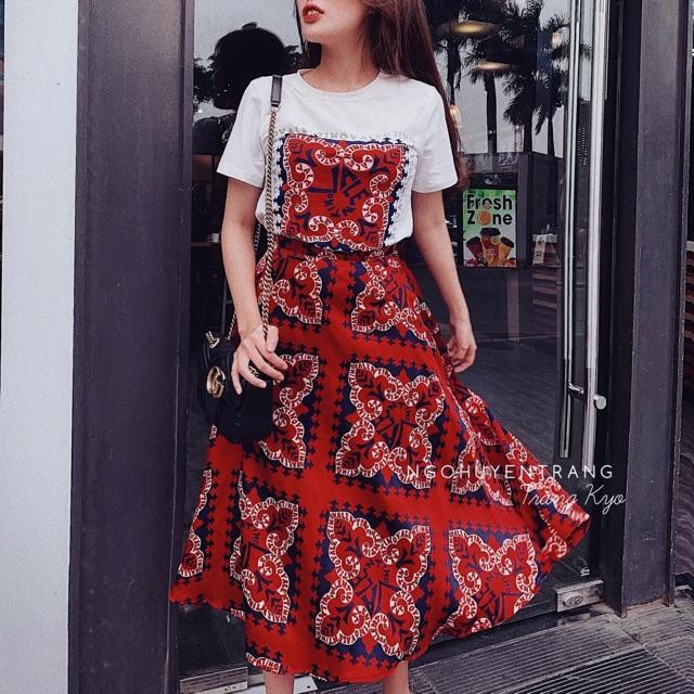 Nhập WAFAS20 hoàn 20k xu đơn 150k_ Set váy đỏ thổ cẩm phong cách Bohemian (Boho) VIDEO