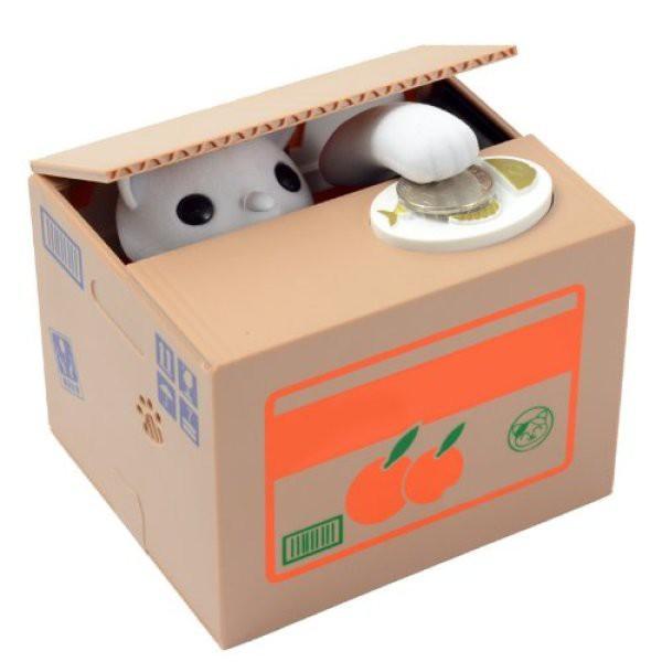 Generic Creative Itazura Kitty Cat Steal Money Coin Box / Piggy Bank