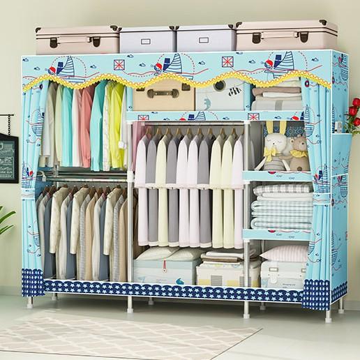 tủ đựng quần áo vải 4 khung gỗ to có bảo hành