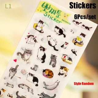L1 6Pcs/Set Random Christmas Gift Office Supply Diary Stationery black and white cute cat sticker