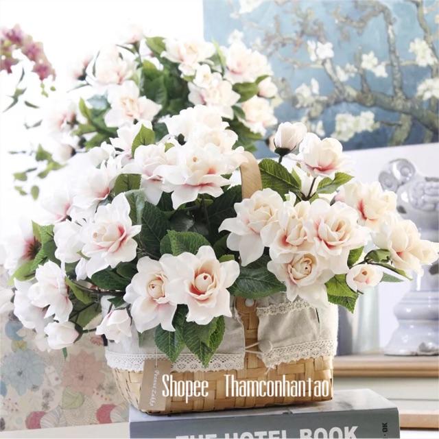 Hoa giả - chùm hoa sơn trà lụa cao cấp