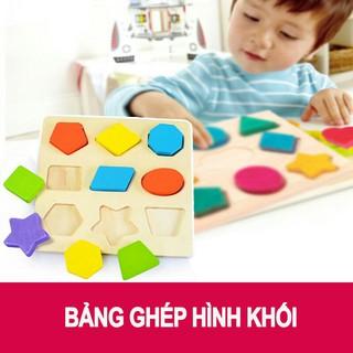 Bảng gỗ ghép hình khối màu sắc 9 chi tiết cho bé