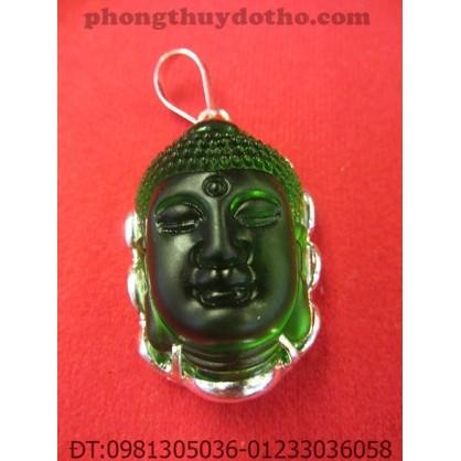 Mặt dây chuyền – Phật Tổ đá hổ phách xanh lục bọc bạc 4,5 x 3 cm