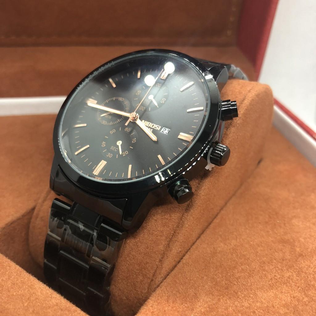 Đồng hồ Nam Nibosi thời trang mặt tròn 38mm dây kim loại màu đen không gỉ chống xước, chống nước TL1