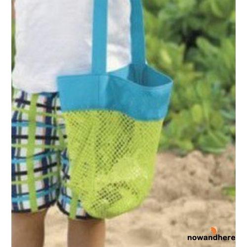 NRN-Children Foldable Beach Bag Kids Sand Away Beach Mesh Toy Shell Bag Tote