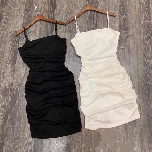 Váy đầm body hai dây dúm eo SIÊU ĐẸP
