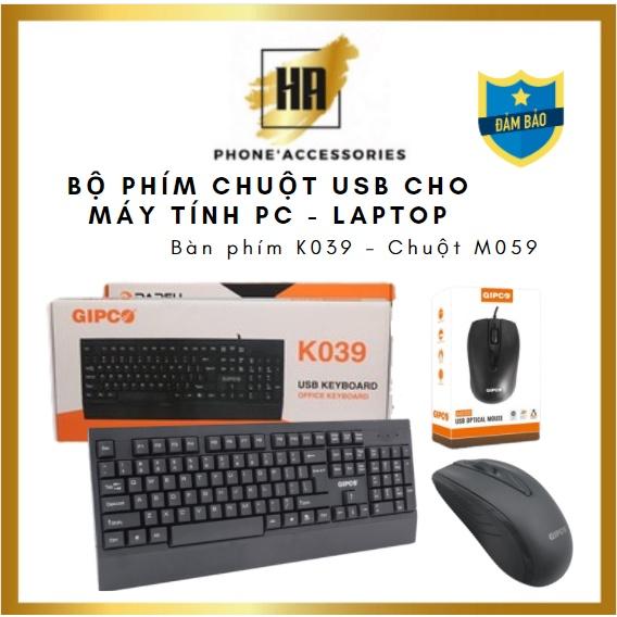 Bộ phím chuột Gipco USB cho máy tính - laptop, Phím K039, Chuột M059, có bán rời phukienhuonganh