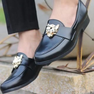 Giày tây nam da mềm kiểu dáng hàn quốc đai báo vàng
