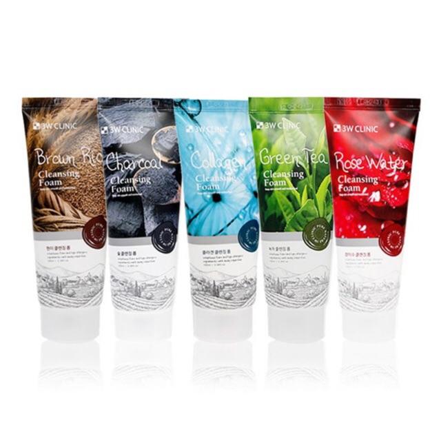 Sữa rửa mặt 3W clinic Trà xanh/ Gạo/Collagen/Hoa hồng/ Than hoạt tính
