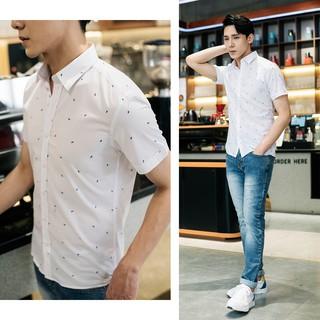 Áo sơ mi nam trắng công sở ngắn tay Biman by Biluxury form vừa bodyfit vải cotton thoáng mát 4SMCH011TRT