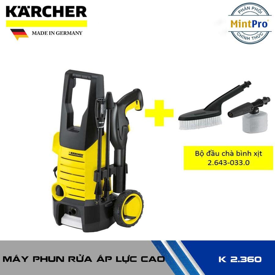COMBO máy xịt rửa xe Karcher K2.360 và bộ đầu chà bình xịt, Giá tháng  10/2020