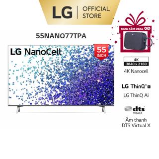 [Mã ELLGHOT giảm 10% đơn 200K] Smart Nanocell Tivi LG 4K 55 Inch 55NANO77TPA ThinQ AI - Model 2021-Miễn phí lắp đặt thumbnail