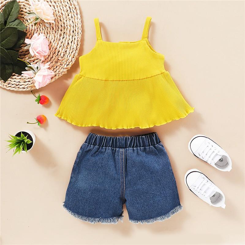 Bộ áo 2 dây và quần denim Mikrdoo thời trang cho bé gái