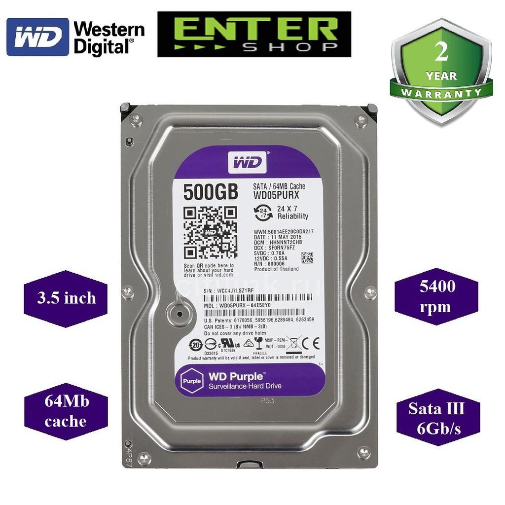 [Mã ELCLMAY giảm 7% đơn 500K] Ổ cứng HDD 3.5inch WD Tím 500Gb Sata3 5400 dòng 64mb cache