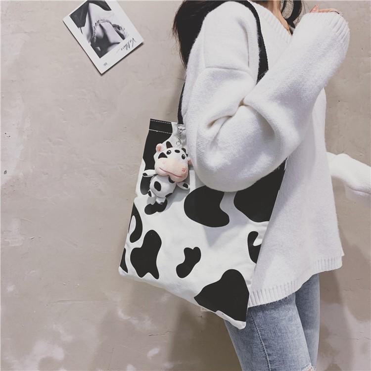 Túi Tote Đeo Vai Vải Canvas Họa Tiết Bò Sữa Dễ Thương Kiểu Nhật Bản 2021