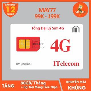 [SIM SỐ CHỌN 199K] Sim 4G ITELECOM Mạng VINAPHONE Gói Cước MAY-V77 FREE Tháng Đầu 3GB Ngày + Miễn Phí 20ph Nội Mạng thumbnail