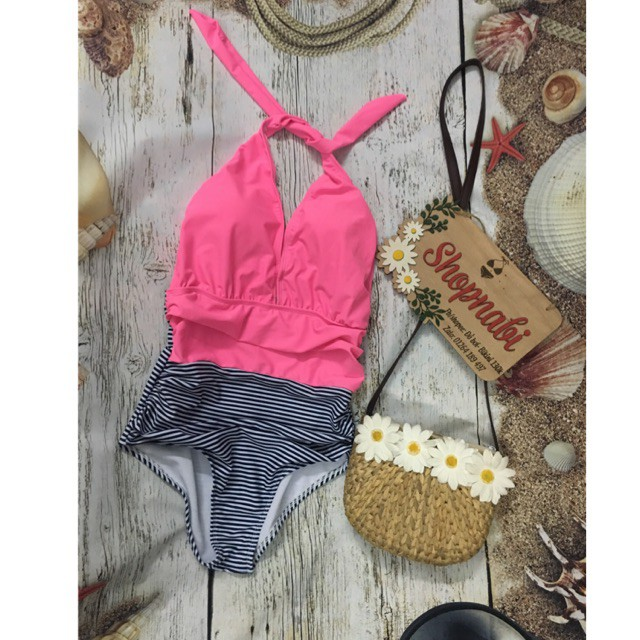 mảnh sọc phối hồng siêu dễ thương - bikini nữ- Áo tắm nữ Bikini