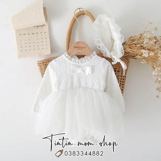 Sét váy trắng thêu hoa đầy tháng/ thôi nôi cho bé gái (kèm mũ bèo tiểu thư)