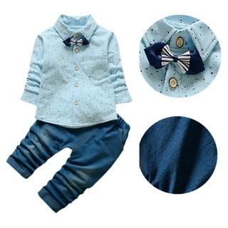 Bộ áo sơ mi có nơ đeo cổ và quần jean dễ thương dành cho bé trai 0- 48 tháng