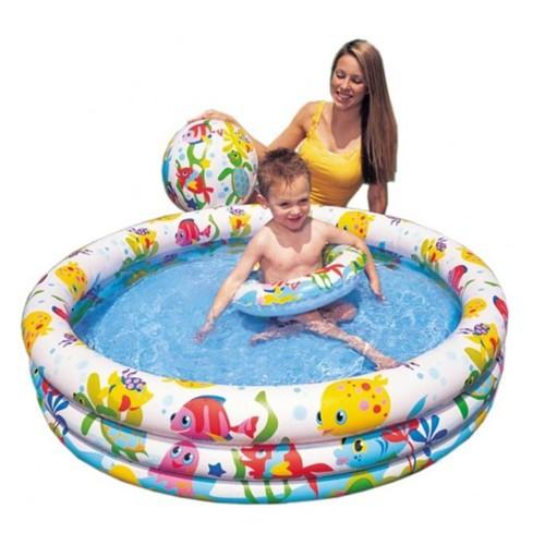 [Đồ Chơi Vận Động]Bộ bể bơi Intex 3 tầng kèm phao bơi và bóng 1m32x28cm + bộ câu cá + 100 banh + xúc cát[Ngoài Trời]