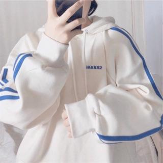 Áo khoác nỉ hoodie viền tay kk Unisex - Thun tay dài form rộng có mũ dáng suông basic ulzzang nam nữ HOT