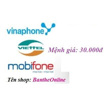 Mã thẻ Viettel, Mobi, Vina 30k hoặc nạp tiền - 2956541 , 212816787 , 322_212816787 , 29000 , Ma-the-Viettel-Mobi-Vina-30k-hoac-nap-tien-322_212816787 , shopee.vn , Mã thẻ Viettel, Mobi, Vina 30k hoặc nạp tiền