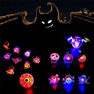 50pcs Halloween LED Ring Luminous Flash Finger Ring Toys Party Blinking Jelly Rubber Rings Kids