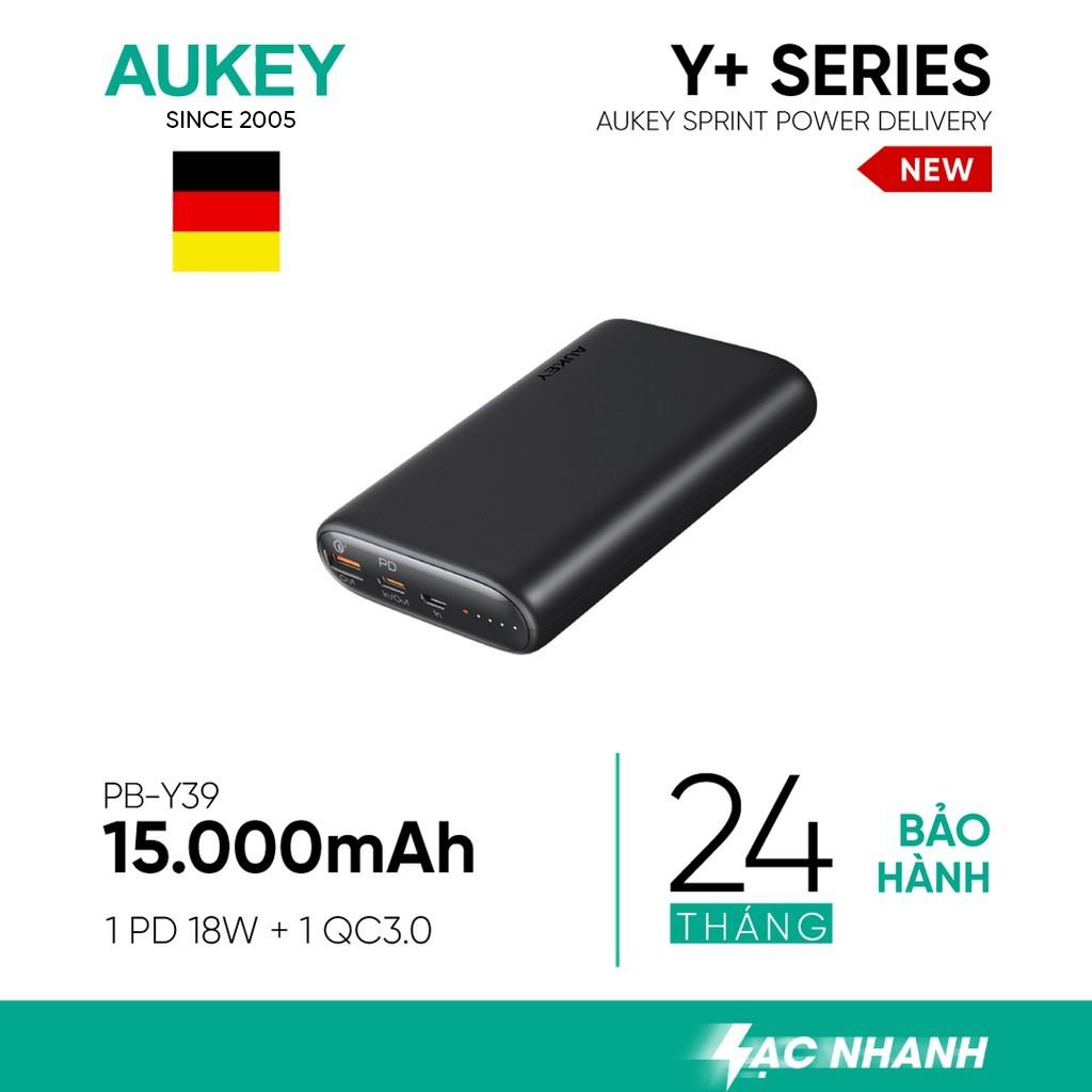 [Mã ELMALL300K giảm 5% đơn 500K] Pin Aukey PB-Y39 15.000 mAh Lõi Tesla Bền X7, Sạc Nhanh QC 3.0 Và PD 18W