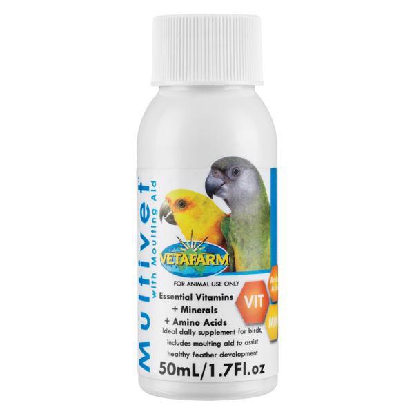 Vetafarm Multivet วิตามินรวมสำหรับนก มีกรดอะมิโน, วิตามิน และแร่ธาตุ ช่วยบำรุงขน ผลัดขน (250ml)