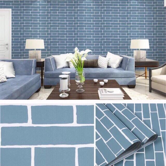 Combo 50 mét giấy dán tường giả gạch xanh ,3 keo, 2 tranh. khổ rộng 45 cm