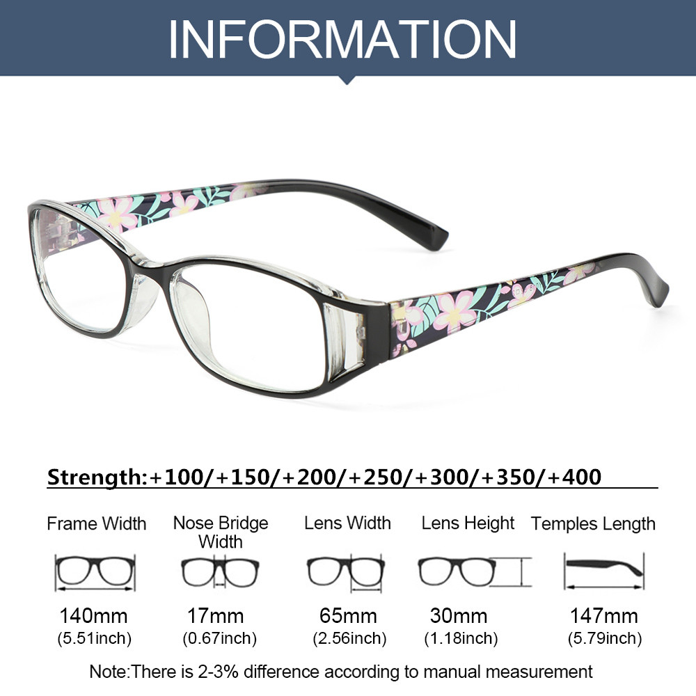 👒OSIER🍂 Fashion Anti-Blue Light Eyeglasses Elegant Eye Protection Reading Glasses Women Portable Flowers Comfortable Vintage Ultra Light Frame/Multicolor