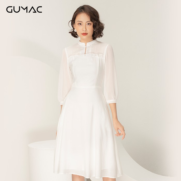 Đầm cổ tàu phối tay GUMAC DA975