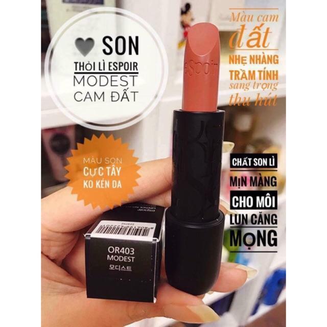 Son Thỏi Lì Espoir Lipstick No Wear dòng M - OR403 Modest - Cam Đất - 15248201 , 512200903 , 322_512200903 , 350000 , Son-Thoi-Li-Espoir-Lipstick-No-Wear-dong-M-OR403-Modest-Cam-Dat-322_512200903 , shopee.vn , Son Thỏi Lì Espoir Lipstick No Wear dòng M - OR403 Modest - Cam Đất