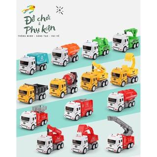 Đồ chơi ô tô nhựa có bánh đà - xe cẩu - xe ben- xe bồn - xe trộn bê tông - xe chở rác - xe máy xúc thumbnail